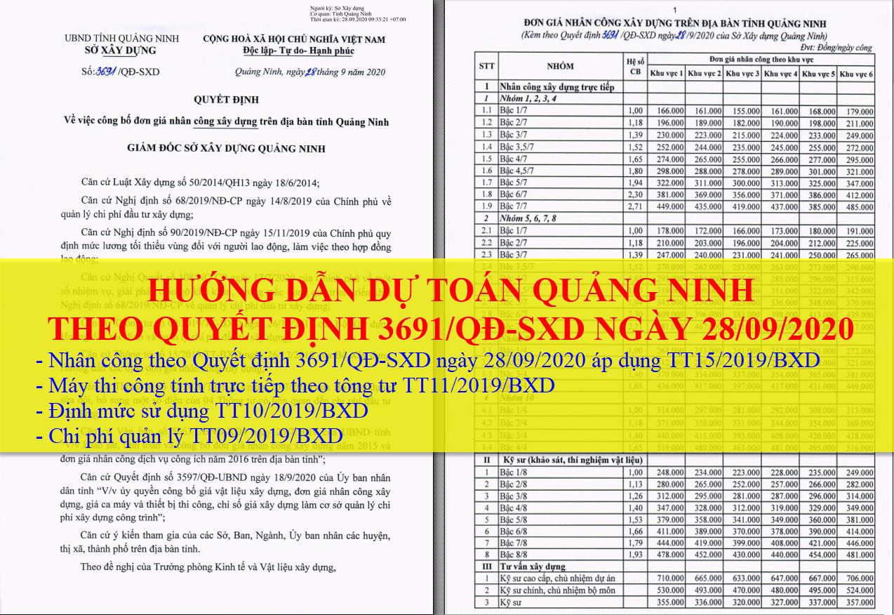 Hướng dẫn dự toán Quảng Ninh 2020 nhân công theo Quyết định3691/QĐ-SXD ngày28/09/2020