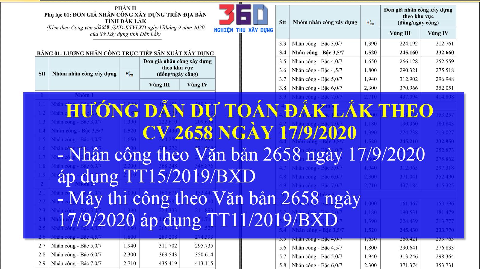Hướng dẫn dự toán Đắk Lắk 2020 nhân công và máy theo văn bản 2658 ngày 17/9/2020