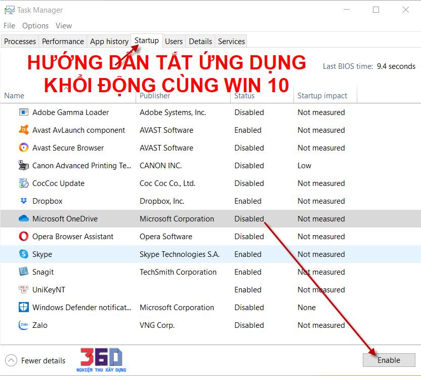 Tắt ứng dụng khởi động cùng Windows 10 tăng tốc độ khởi động máy tính