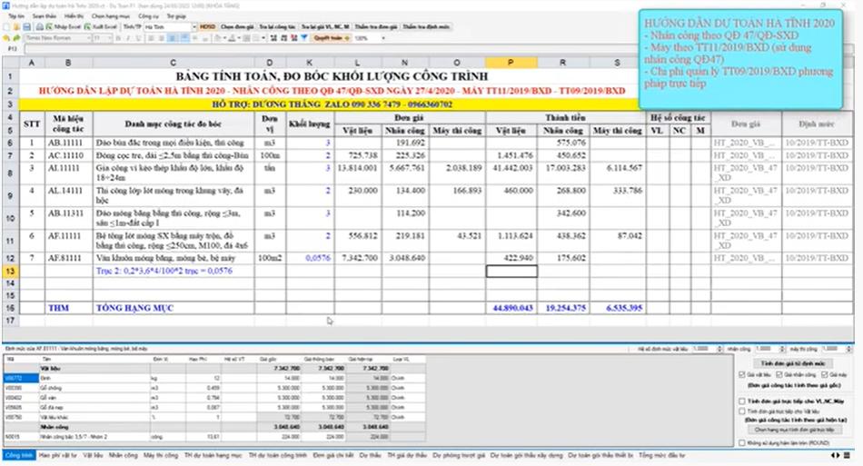 Hướng dẫn dự toán Hà Tĩnh 2020 theo Quyết định 47/QĐ-SXD ngày 27/04/2020